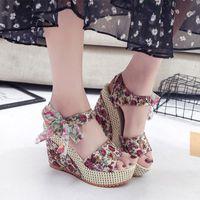 Dress Shoes Female Casual Ladies Fashion Ankle Strap Open Toe Footwear Drop Women Sandals Dot Bowknot Platform Wedge