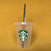 starbucks Mermaid 16OZ 473ml Plastic Tumblers Transparent Drinking Juice Cup With Lip And Straw Magic Coffee Mug Costom 5pcs