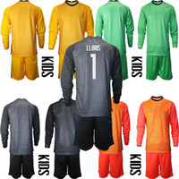 EURO 2021 France National Team Kids Long Sleeve Goalkeeper Soccer Jersey Infant LLORIS Home Away Green Red Yellow Childrens Paul Pogba Mbappé Giroud Football kit