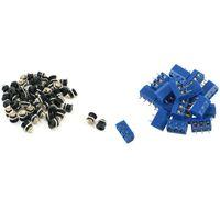 Smart Power Pluggar 20 st 3 pin 5 mm PCB PCB Skruvplint 50 Plugg DC-022 5.5-2.1mm Hålgängad mutterpanelmontering