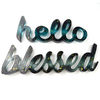 Silicone Mold Hello Love Live Blessed Epoxy Resin Molds DIY Ornament for Home Office Wedding Decor GGA4375