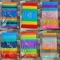 Súper tamaño arco iris pionero tablero de ajedrez prensa fidget juguetes niños niños padre-niño empuje poppers burbujas de silicón tabletop juego g91apnc
