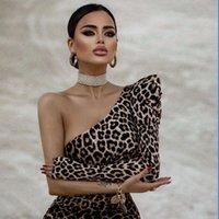 Casual Dresses Vero Sinly 2021 Sexy One Shoulder Split Leopard Long Sleeve Midi Women Summer Dress Designer Fashion Evening Party Vestido