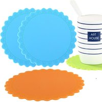 Round Heat Resistant Silicone Mat Drink Cup Coasters Non-slip Pot Holder Table Placemat Kitchen Accessories EWF6954