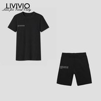 [LIVIVIO] Casual Letter Print Loose Sweat Suits Lounge Wear T Shirt And Shorts Two Piece Set Tracksuit Women Outfits Streetwear Q0527