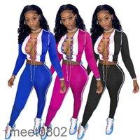 Mulheres Calças de duas partes Conjuntos Correstsuits Designer Slim Sexy Rodada Pescoço De Manga Longa Calças De Cor De Contraste Splicing Cavidade Outfits A7909