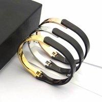 Luxury Designer Paris Brand Titanium Gold Plaid Two-color Bangles High Quality Women's Silver Bracelets Men's Golden Bracelet Designers Fashion Bangle