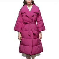 Women cotton padded jacket women 2020 winter new thickened temperament loose warm belted long coat jacket1