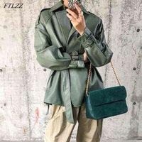 FTLZZ Spring Autumn Women Faux PU Leather Casual Streetwear Outwear Motorcycle Jacket with Belt Green Biker Coat 210915