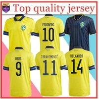 20 21 Sweden National Home Soccer Jerseys Ibrahimovic Kallstrom Forsberg Adult Man Football Shirt
