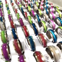 Bulk lots 100pcs Mixed Mens Womens Colorful Cat Eye Stainless Steel Rings Width 7mm Band Sizes Assorted Wholesale Fashion Jewelry