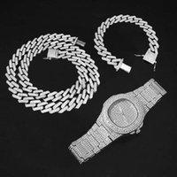 Earrings & Necklace 3pcs set Watch Bracelet Bling Iced Out Miami Zircon Cuban Link Chain Rhinestone Jewelry Set For Mens Women Choker Gifts