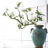 Flores decorativas Grinaldas Luxo Longo Grande Branco Azálea Branch, fácil de moldar artificial com folhas falsas seda + espuma flores para casa wedd