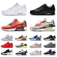 Nike Air Max Airmax 90 Day of the Dead OFF White أحذية رياضية كلاسيكية للرنسية رياضية أصلية كل أسود أبيض أخضر وردي حذاء رياضي للرجال والنساء في الهواء الطلق مقاس 36-46 يورو أحذية