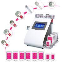 9 i 1 multifunktionsbantning Skönhetsmaskin Lipolerer 40K ultraljudskavitation Vakuum RF Anti-Winkle Lipo Laser Fettreduktion Kallhammare Mikrocurrentanordning