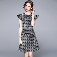 Sexy Crochet Hollow Out Floral Dress Runway 2021 Designer Flying Sleeve O-Neck Prom Holiday Office Ladies Slim Blue Dresses Summer Autumn Temperament Women Clothes