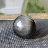 Double Rainbow Eyes Black Obsidian Naturkugel Kugelheilung Kristall Edelstein Quarz Figur mit Ständer (40-80mm / 1.57-3.15inch)