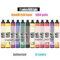 일회용 vape randm 플렉스 플래시 1000 퍼프 E 담배 650mAh 배터리 4ml 용량 장치 대 눈부신 RGB 조명