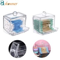 Storage Boxes & Bins Acrylic Cotton Swabs Organizer Holder Box Portable Transparent Makeup Pad Cosmetic Container Jewelry Case(Empty Box)