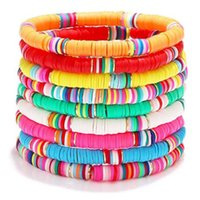 Summer Sunny Beach Color Sliced Soft Pottery Bracelet Bohemian Bead Alphabet Handwork