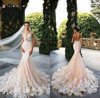 2022 Bröllopsklänningar Mermaid Sexig Sheer Neck Cap Sleeve Lace Appliques Bodicese Sweep Train Bridal Gowns Vestios De Novia