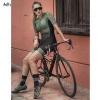 Kafitt Armygreen Couple Couple Femaletriatthlon Skinsuit Set Maillot Ropa Ciclismo Jersey Vélo Jersey Femmes Cyclisme Ensembles