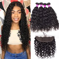 Alinybeauty Brazilian Water Wave Bundles With Frontal For Girls, Remy Human Hair Bundles With 13x4 Lace Frontal Natural Color Wholesale