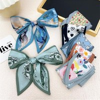 Scarves Print Small Silk Scarf Long Skinny Hair Neck DIY Tie Band Double-sided Sharp Angle Fashion Accessories