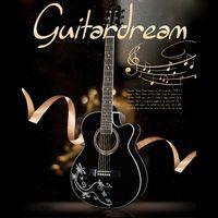 YH-40 N Ретро фольклорный 40-дюймовый черный наклейка легкая электрическая коробка деревянная гитара для новичка черно-белый / из дерева тела 3 цветов