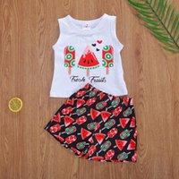 Clothing Sets 2021 Baby Summer Pajama Infant Tank Top+shorts Watermelon Ice Cream Printing Fresh Fruit English Sleepwear