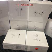 Top Quality 1: 1 Airpods Pro Ar Pods Pro 3 H1 Chip Transparência Capas de Dobradiça de Metal Fones de ouvido Bluetooth Bluetooth Vagens 2 Pro W1 Earbuds 2ª geração