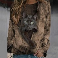 Women's T-Shirt Spring Tops Women Print Animal Fashion Long Sleeves Clothing Round Neck Cat Casual Soft Cozy Female Pullover