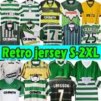 1982 84 86 Celtic # 7 Larsson 2000 2002 Retro Soccer Jerseys 80 85 89 01 03 06 07 08 91 92 96 97 Vintage Camisas de futebol verde Gillespie Cascarino Jersey