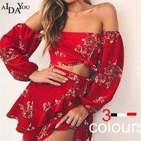 Женские брюки из женских брюк A aidayou лето 2021 мода женщины Vestdos без бретелек цветочные длинные рукаевые набор блузка + мини-платья повседневная OUC3303