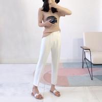 Kadın 2021 İlkbahar Yaz Moda Katı Renk Gevşek Pantolon Kadın Yüksek Bel Ince Pantolon Bayanlar Rahat Düz N80 Kadın Capris