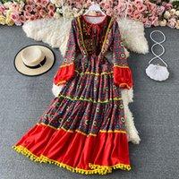 Повседневные платья Jastie 2021 летний стиль Boho Национальное вышивка платье ретро принт праздник миди пляж Vestidos женщина