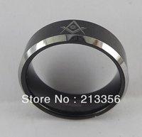 Wedding Rings Pris Promotion! ! USA Säljer EG Smycken WomenMens Black Tungsten Masonic Master Freemason Ring