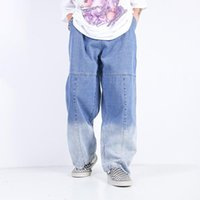 Men's Jeans Eukaaru High Street Denim Letter Embroidery Gradient Straight Wide Leg Fashion Oversized Hip Hop Baggy