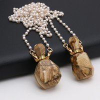 Chains 80cm Natural Picture Stone Necklace Pendant Essential Oil Diffuser Perfume Bottle Plus Two Glass Pearl Chain 20x38mm 20x37mm