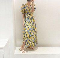 2020 2020 القادمون الجدد الأزهار طباعة انقسام طويل الصيف اللباس للسيدات الخامس الرقبة المؤنث sundresses أنيقة أزياء المرأة الملابس K9UI #