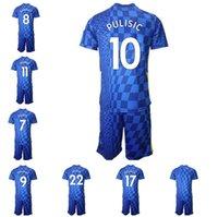 Индивидуальные 21-22 10 Pulisic 22 Ziyech Тайское качество Футбольные майки наборы с коротким рукавом 21 Запакоста 7 Канте 11 Вернер пользовательских мужчин Спортивная одежда