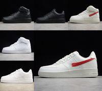 최고 품질의 클래식 강제 망 낮은 러닝 신발 저렴한 하나의 유니섹스 1 니트 유로 공기 높은 여성 모든 흰색 검은 색 빨간 스케이트 보드 스케이트 야외 트레이너 신발