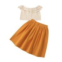 0-6Y BOHO Детские дети девочка одежда кисточка трикотажные холлы с плечевой блузкой топ + a -line юбка праздник лето 2шт набор наборов