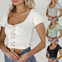 Women's T Shirt Solid Color Sexy Knitted Striped Bandage Sleeve Strap Camisole Summer Top Fashion Casual Tops Vintage Mujer