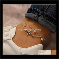 Barefoot Sandals Body Jewelry Jewelrypendant Anklets For Women Fashion Two-Piece Pearl Chain Ecg European And American Footchain Suit Drop De