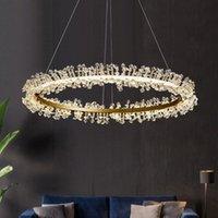 Pendant Lamps Modern LED Chandelier Crystal Indoor Lighting Loft Chandeliers For Home Decor Brushed Gold Round Hanging Lamp Lustre Bedroom