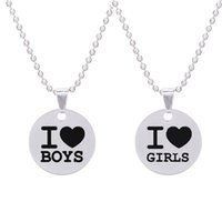 Pendant Necklaces Fashion Creative I Love Boys girls Gay Necklace Pride Stainless Steel Round Men And Women Jewelry