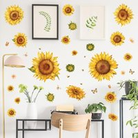 Classic Sunflowers Wall Stickers Home Decor Living Room Bedroom Sofa TV Background Removable Flowers Art Murals