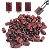 100 50pc Sanding Cap Bands For Electric Manicure Machine 180 120 80 Grit Nail Drill Grinding Bit Files Pedicure Tool Set
