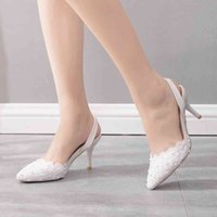 Dress Shoes High-heeled female crystal queen sandals, seven-inch wedding party shoes, shallow-white lace designer P3T0